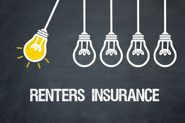 hanging light bulbs with one lit up above the words Renter Insurance.