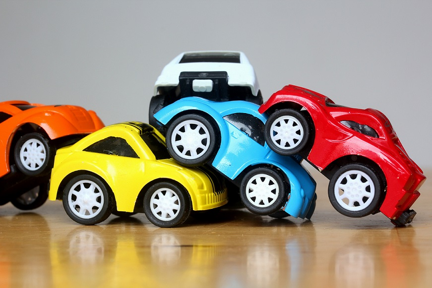 Car Accident with colorful miniature cars